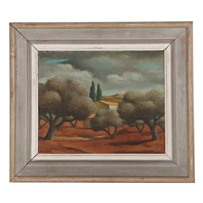 Pierre Boucherle Landscape Oil Painting, Mid-20th Century