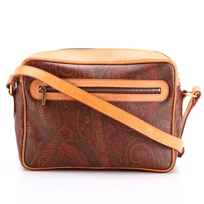 ETRO Crossbody Bag in Paisley Coated Canvas and Leather Trim