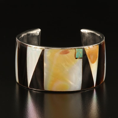 Mother of Pearl, Shell and Turquoise Inlay Wide Cuff