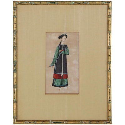 Chinese Gouache Painting of a Woman, Late 20th Century