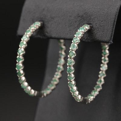 Sterling Emerald Inside-Out Hoop Earrings