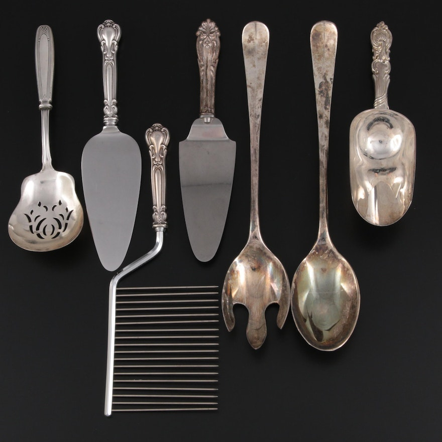 Silver Plate Salad Serving Set and Scoop with Other Sterling Handled Utensils