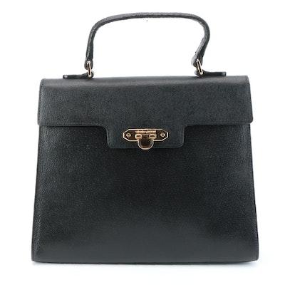 Valentino Garavani Top Handle Flap Handbag in Black Leather