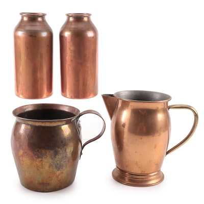 Hand-Forged Copper Bottles, Jug and Pitcher, Late 19th/Early 20th Century