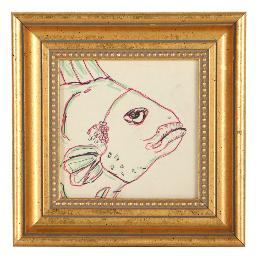 Ink Drawing of a Fish, Late 20th Century
