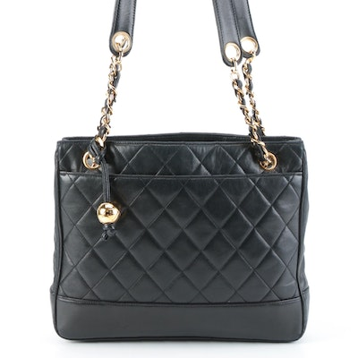 Chanel Tote Bag in Black Quilted Lambskin Leather