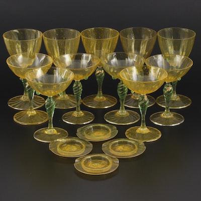 Salviati & Co. Murano Handblown Yellow and Green Art Glass Stemware and Ashtrays