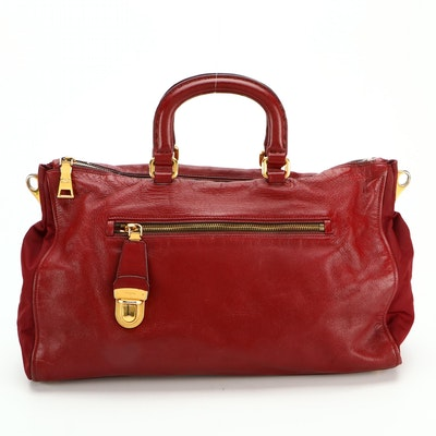 Prada Two-Way Bag in Red Saffiano Leather and Red Tessuto Nylon