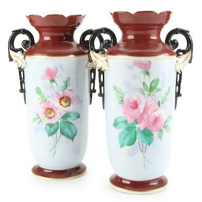 Hand-Painted Bird and Floral Motif Handled Ceramic Vases, Mid-20th Century