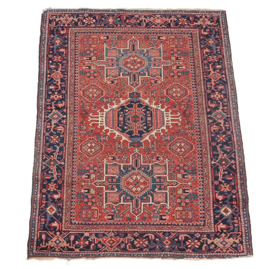 4'6 x 6'2 Hand-Knotted Persian Karaja Area Rug