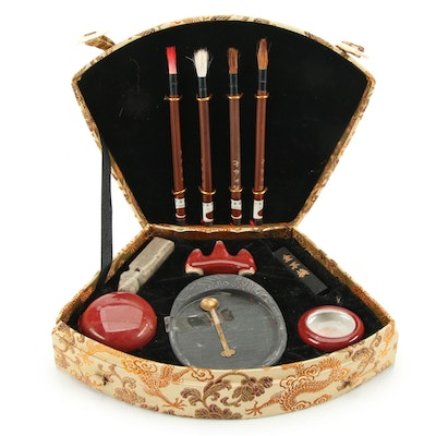 Chinese Calligraphy Writing Set in Case, Late 20th Century