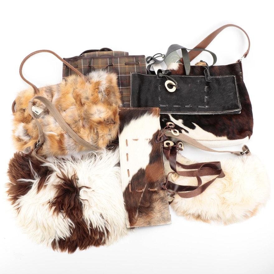 Barbour Tartan Knapsack with Other Animal Hide and Fur Handbags