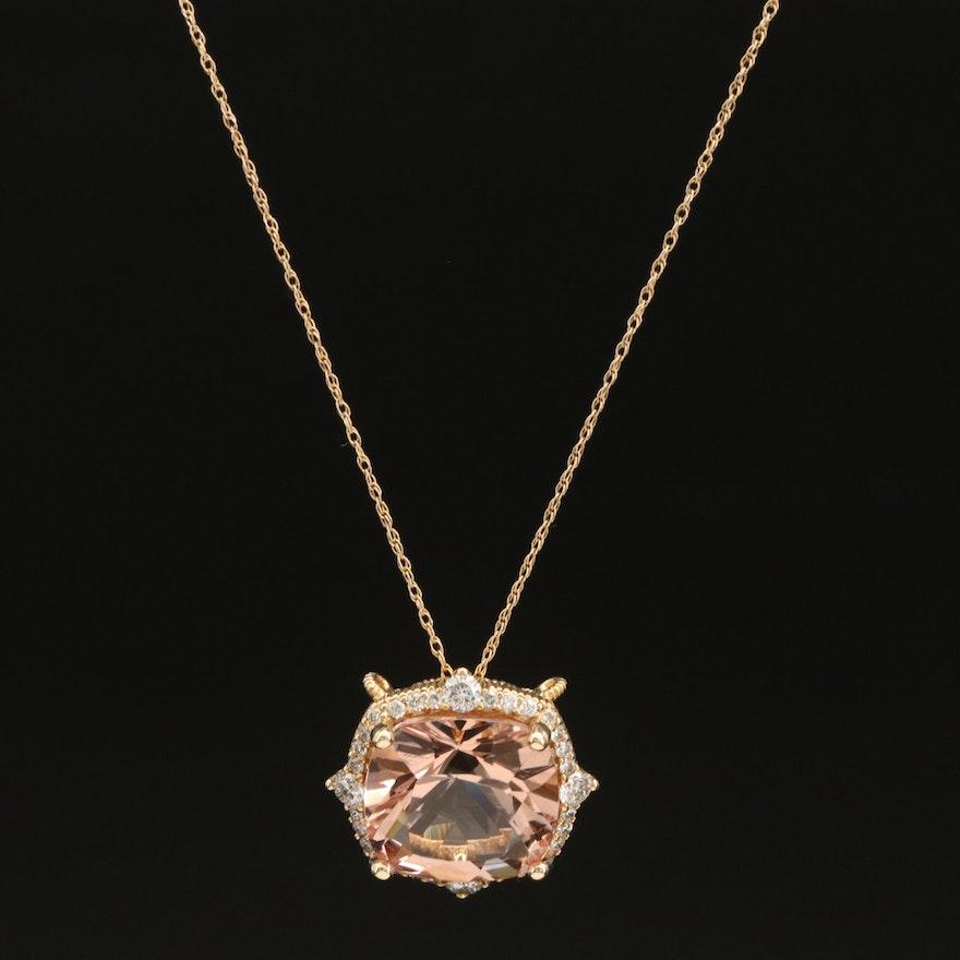 14K Morganite Pendant Necklace with Diamond Halo