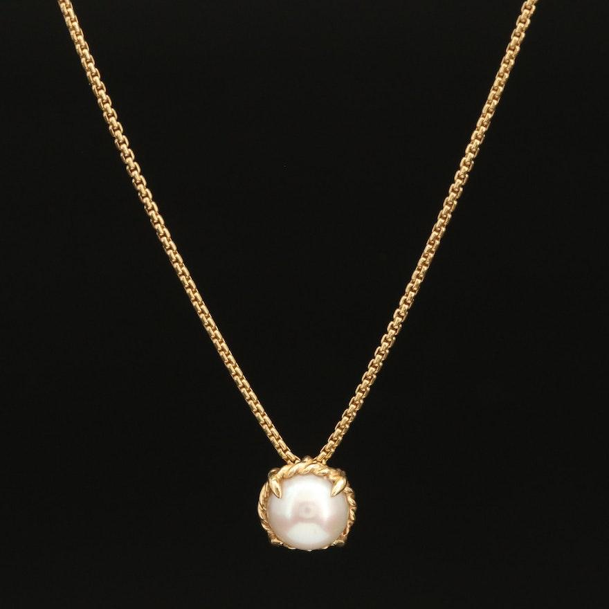 "David Yurman 18K ""Petite Chatelaine"" Pearl Necklace"