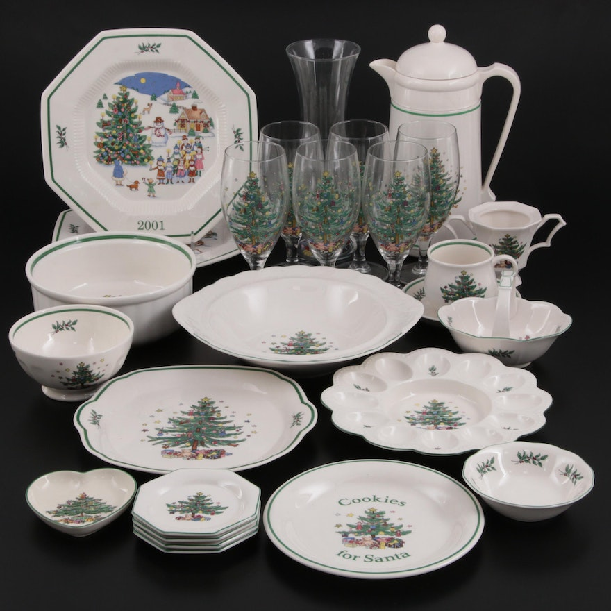 """Nikko """"Christmastime"""" and """"Happy Holidays"""" Beverage Ware and Other Serveware"""
