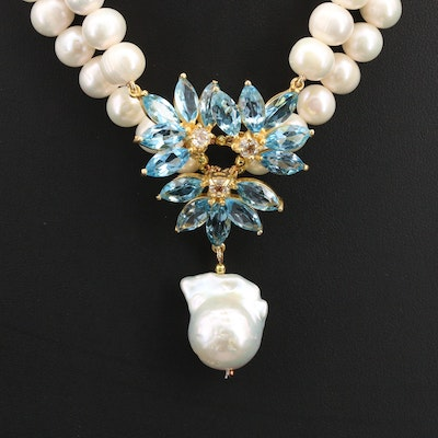 Sterling Silver Pearl and Topaz Necklace