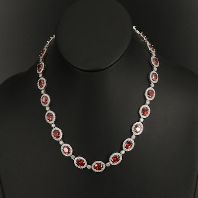 Sterling Oval Link Necklace with Cubic Zirconia
