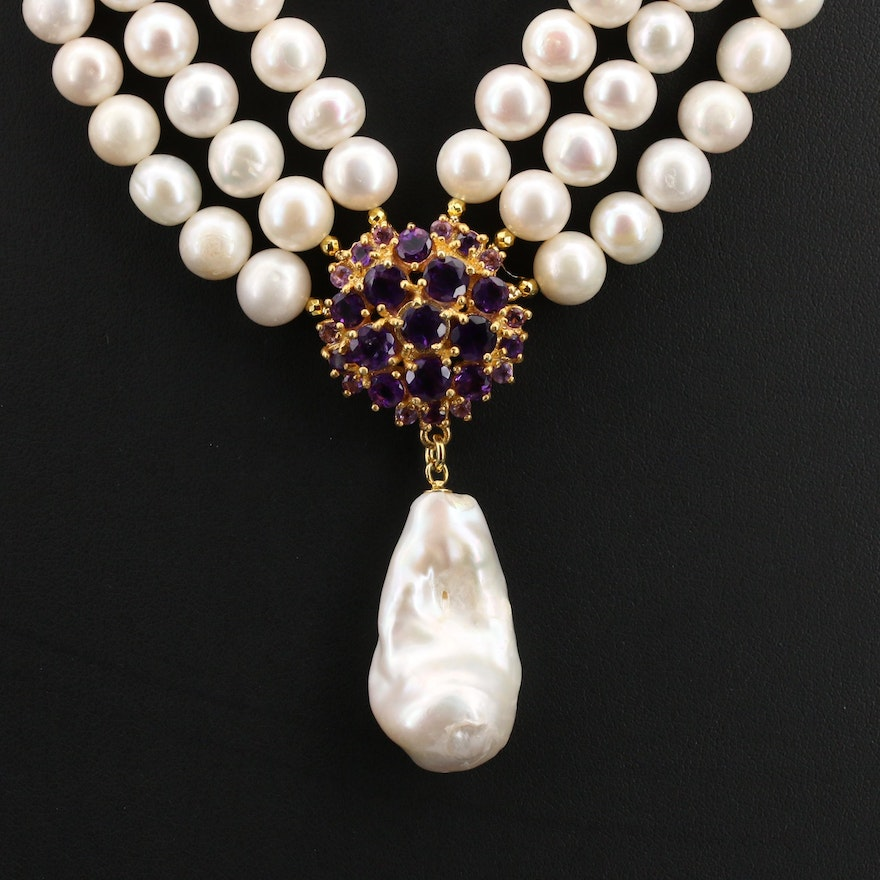 Pearl and Amethyst Triple Strand Necklace in Sterling