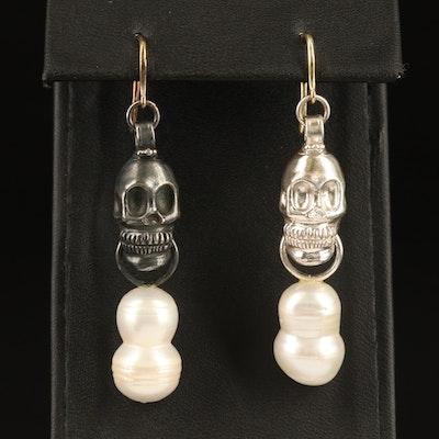 Sterling and 18K Baroque Pearl Skull Earrings