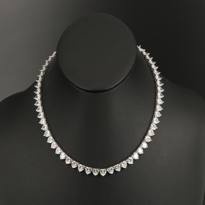 Sterling Cubic Zirconia Heart Link Necklace