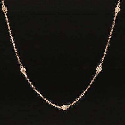 18K 0.25 CTW Diamond Bezel Set Station Necklace
