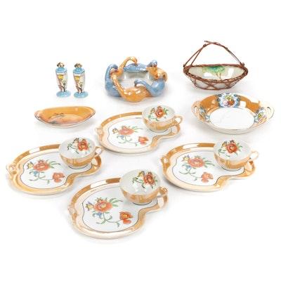 Noritake Lustreware Snack Set Including Other Japanese Porcelain Serveware