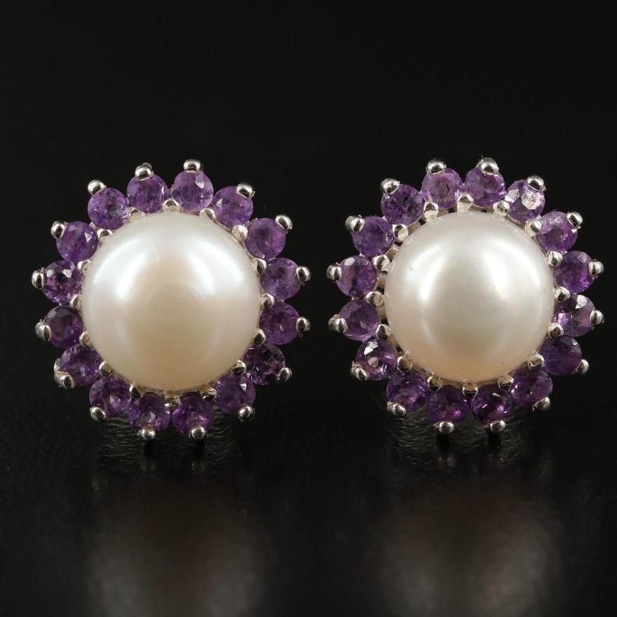 Sterling Pearl and Amethyst Halo Earrings