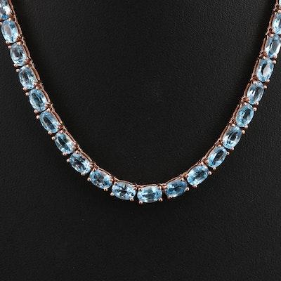 Sterling Topaz Line Necklace
