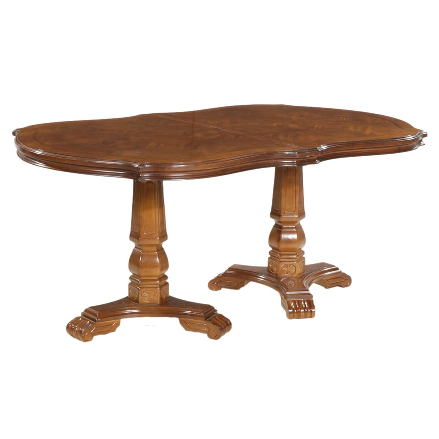 Contemporary Wood Two Pedestal Dining Table