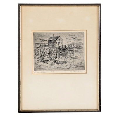 """Landscape Etching """"Government Dock,"""" Mid-20th Century"""