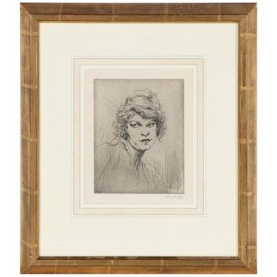 "Augustus Edwin John Etching ""A Girl's Head"", Early 20th Century"