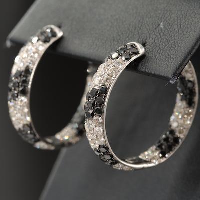 14K 6.55 CTW Diamond Inside-Out Hoop Earrings