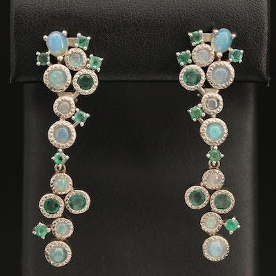 Sterling Silver Opal and Emerald Bubble Earrings