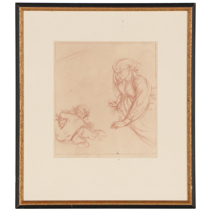 Sanguine Figural Study Drawing Attributed to Charles Haslewood Shannon