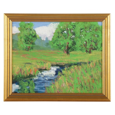 Kenneth R. Burnside Bucolic Stream Landscape Oil Painting, 21st Century