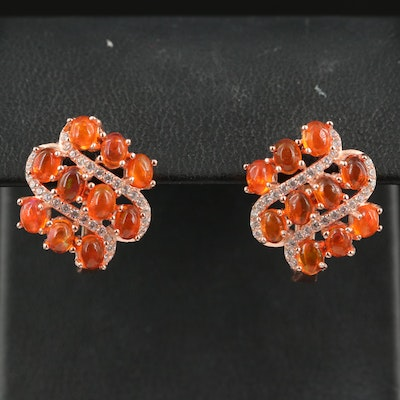 Sterling Fire Opal and Cubic Zirconia Cluster Earrings