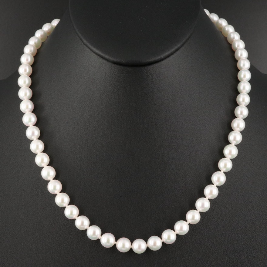 Blue Lagoon by Mikimoto Pearl Necklace with 14K Clasp