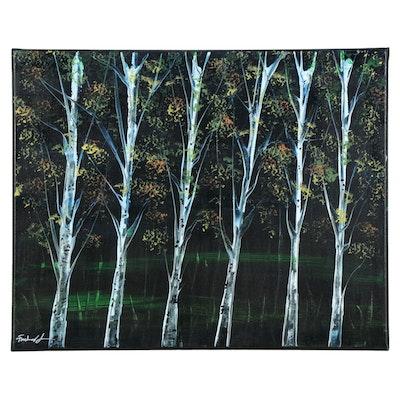 Farshad Lanjani Oil Painting of Tree Grove, 21st Century
