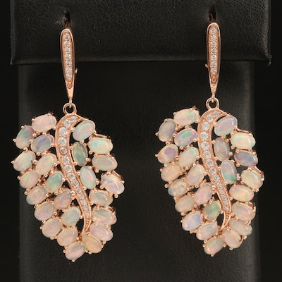 Sterling Silver Opal and Cubic Zirconia Leaf Earrings