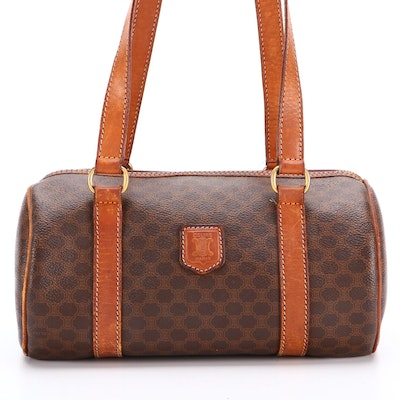 Celine Small Barrel Bag in Macadam Coated Canvas and Leather Trim