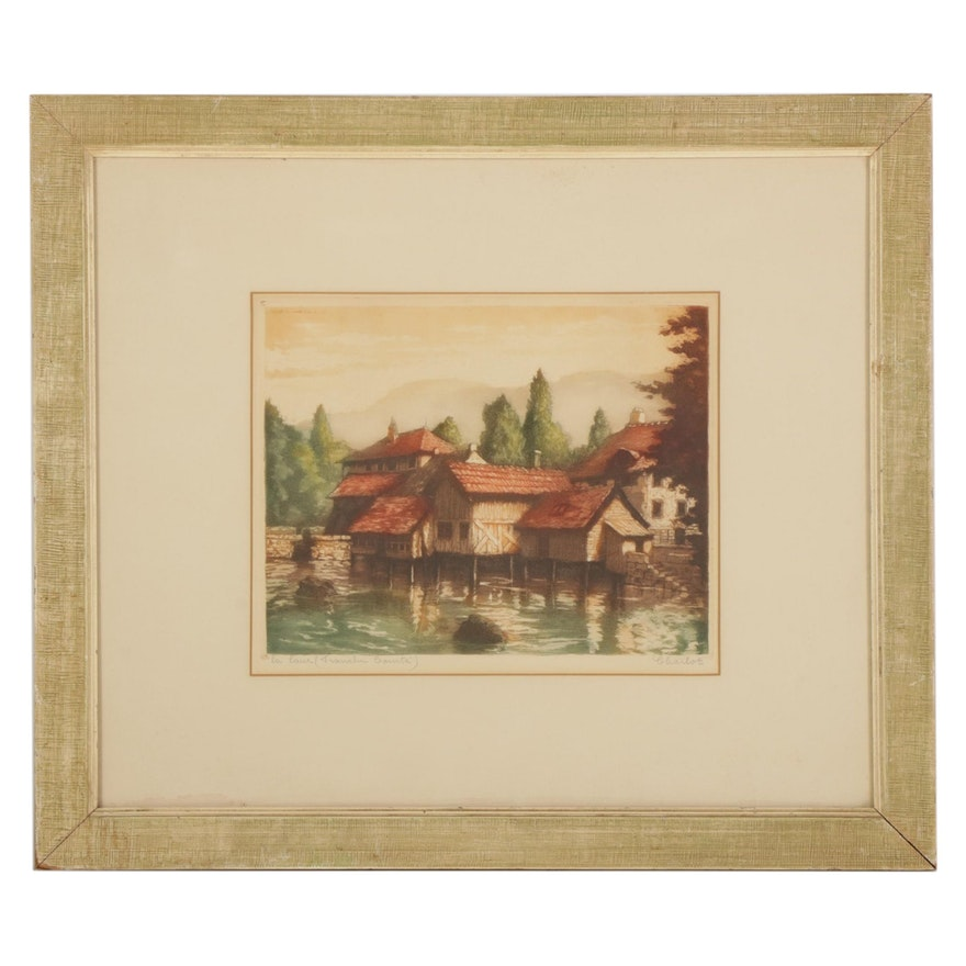 "Hand-Colored Mezzotint ""La Laue (Franche-Comté),"" Circa 1933"