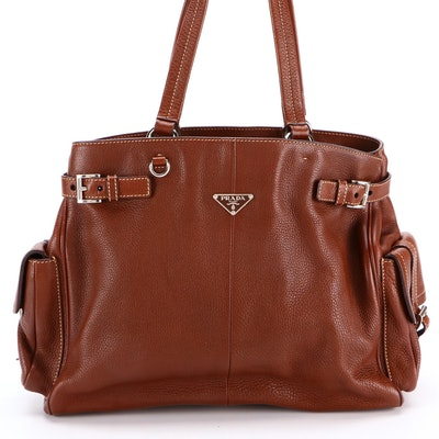 Prada Shoulder Tote Bag in Vitello Daino Leather with Two Exterior Flap Pockets