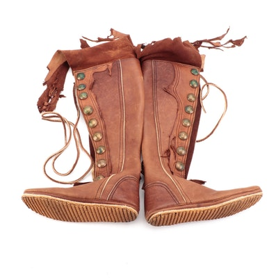 Handcrafted Renaissance Style Leather Moccasin Boots