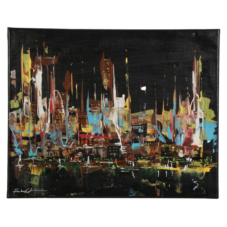 Farshad Lanjani Mixed Media Painting of Abstract Cityscape, 21st Century