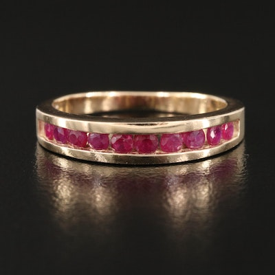 10K Channel Set Ruby Tapered Band