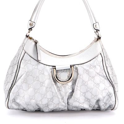 Gucci Hobo Shoulder D-Ring Bag in Metallic Silver Guccissima Leather