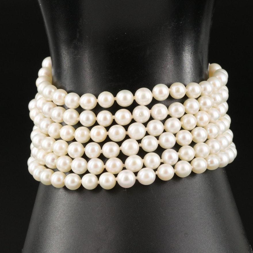 Six Strand Pearl Bracelet with 14K Clasp