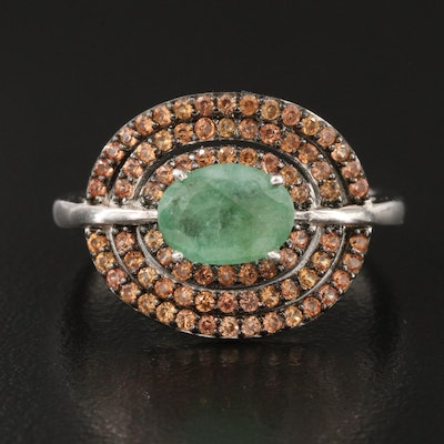 Sterling Emerald and Sapphire East-West Set Ring