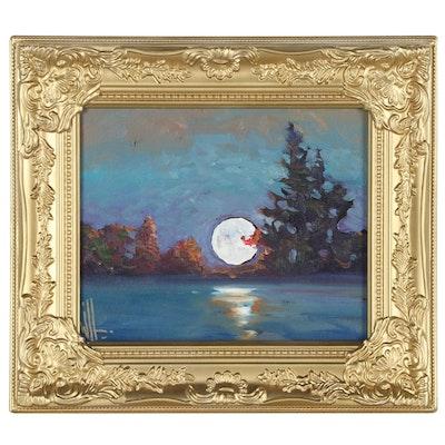 William Hawkins Nocturnal Landscape Oil Painting, 21st Century
