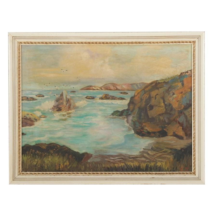 Rocky Coastal Beach Oil Painting, Mid-Late 20th Century